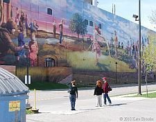 Writers looking at a mural
