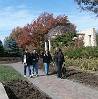 Writers walking around the Sunken Gardens