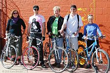 Participants posing with bikes