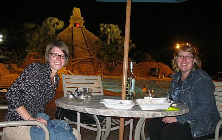 Danielle Helzer and Diana Weis at an outdoor table