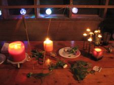 Candles on Table during Found Objects Ritual