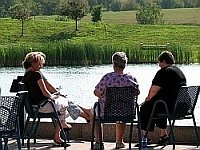 Writers by the pond