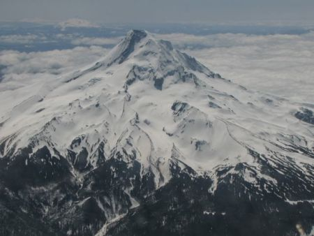 Mt. Hood greets the weary travelers from Nebraska hinting at the beauty of Portland