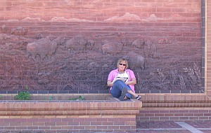 Robin sitting at stone mural of train