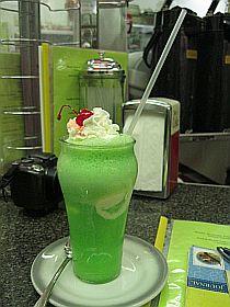 Bright green ice cream soda