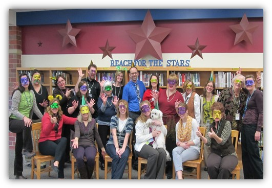 NeWP Spring Gathering participants pose with masks